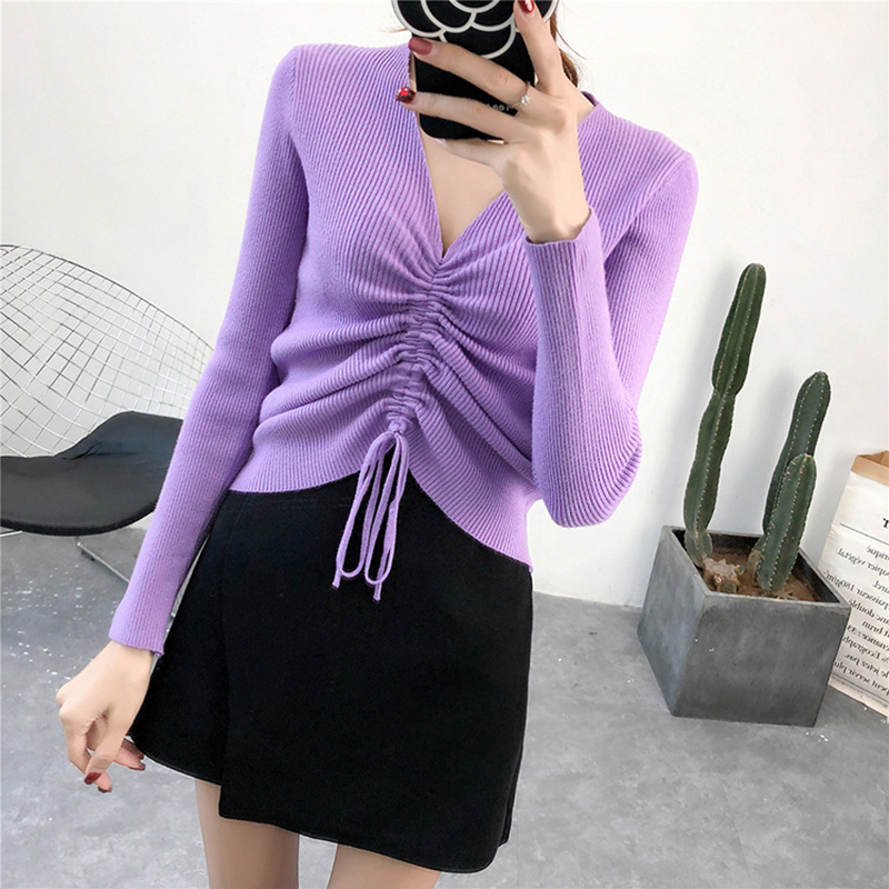 GOPLUS Autumn Winter Lace up Knitting Sweaters Women Sexy V Neck Slim Long Sleeve Elasticity Jumper Solid Pullovers Female Top 7