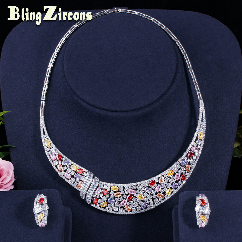 BlingZircons Multicolor Cubic Zirconia Stone Setting Stunning Women Colorful Wedding Costume Necklace Earrings Jewelry Set JS142 2016 custom jewelry ebay hot sell men stone bezel setting cz cubic zirconia wedding band rings