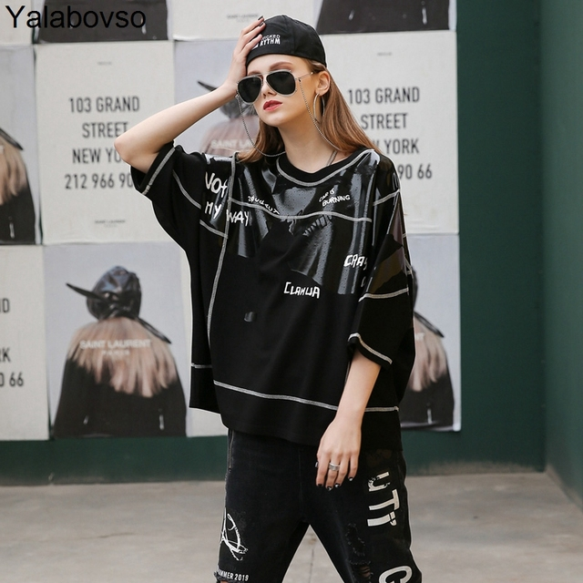 2019 High Street Streetwear O neck Comfortable Half Sleeve Tees Cotton T Shirt Irregular Graffiti Printing Tops for woman  Z30