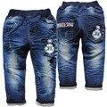 3801 azul marinho calças casuais calças de brim do bebê primavera meninos outono meninas não se desvanece crianças novas calças de brim calças jeans macio criança denim macio