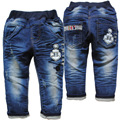 3801 navy blue casual pants jeans baby  boys autumn spring girls trousers soft denim not fade new kids jeans child soft denim