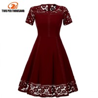 Womens Summer Elegant Lace Patchwork Dresses Slim Tunic Casual Party Evening Special Occasion A Line Dress