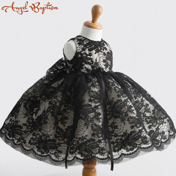 Black lace Flower Girl Dress Baby 1 year Birthday party Dress red thanksgiving gowns white/ivory christening dress baptism gown new white ivory nice spaghetti straps sequined knee length a line flower girl dress beautiful square collar birthday party gowns