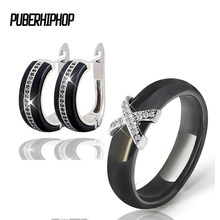 hot deal buy silver color aaa cz ceramic bridal jewelry sets black white rings & earrings set wedding jewelry for women lady health material