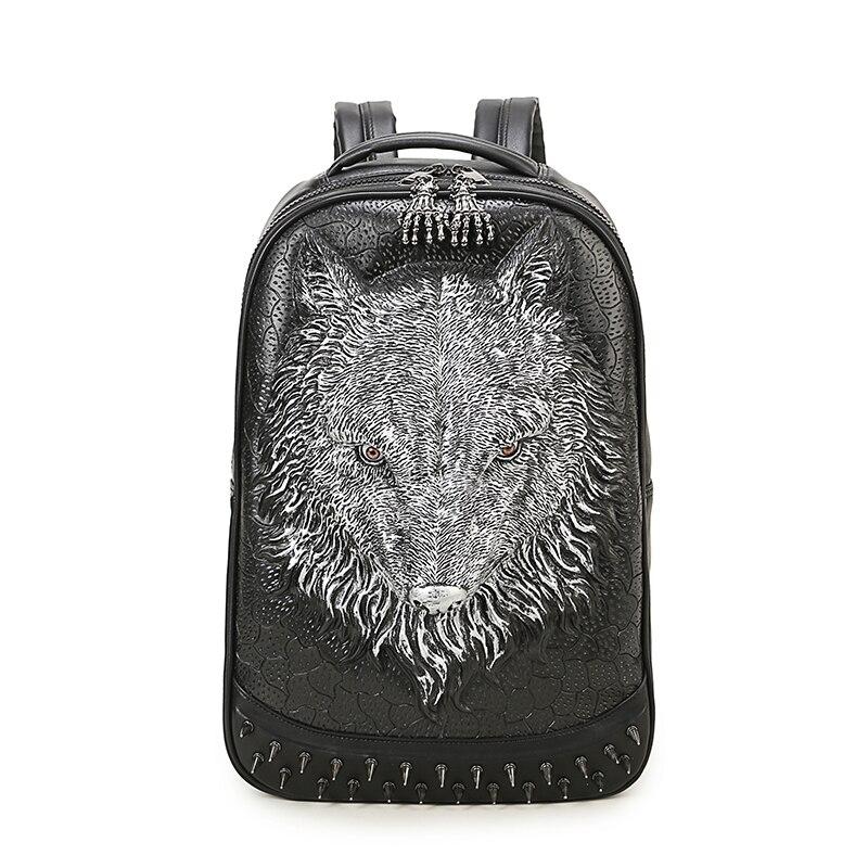 2018 3D loups gaufrage Rivet noir sacoche homme femmes école sac à dos Halloween Cool en cuir ordinateur portable voyage doux sacs 1.38 KG
