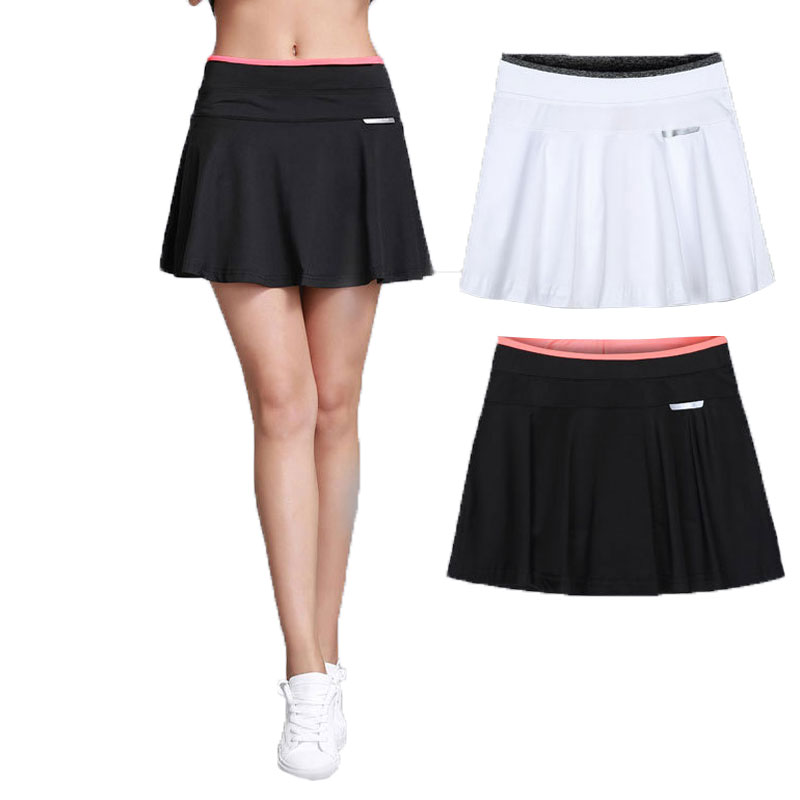 12b22e149d Women Girls Pleated Tennis Skirt With Safety Shorts Mujer Skort Ladies  Skorts Sport Skirts Colleague Student