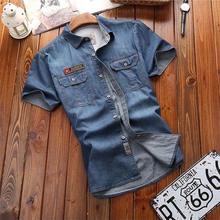 Męskie koszule moda nowe letnie krótkie rękawy męskie jeansowe koszule bawełniane Casual skręcić w dół kołnierz Camisa męskie jeansowe koszule tanie tanio Envmenst Stałe REGULAR Pojedyncze piersi 3106 COTTON fashion Suknem