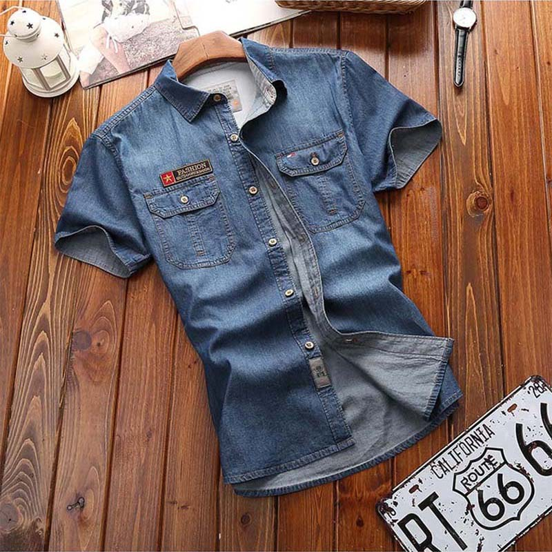 Men Shirts  Fashion New Summer Short Sleeves Men Denim Shirts Cotton Casual Turn Down Collar Camisa Male Denim Shirts