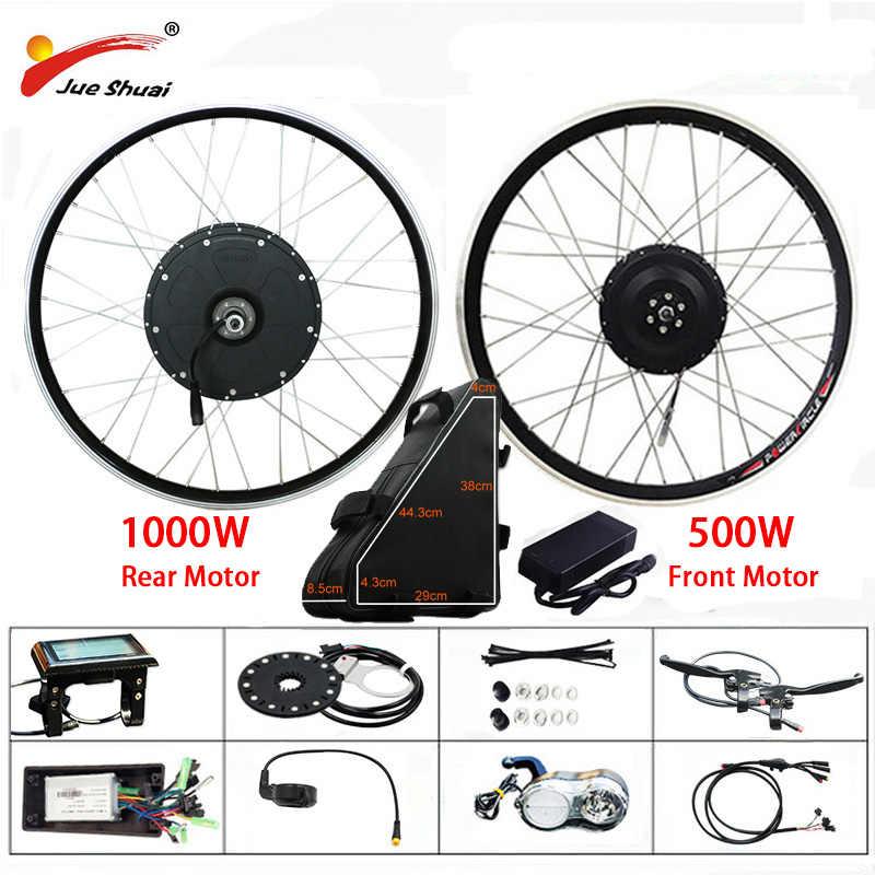 مجموعة أدوات تحويل الدراجة الكهربائية 48 فولت 500 وات 1000 وات مع بطارية 20 أمبير عجلة محرك بدون شفة 26 بوصة 700C e عدة الدراجة الإلكترونية