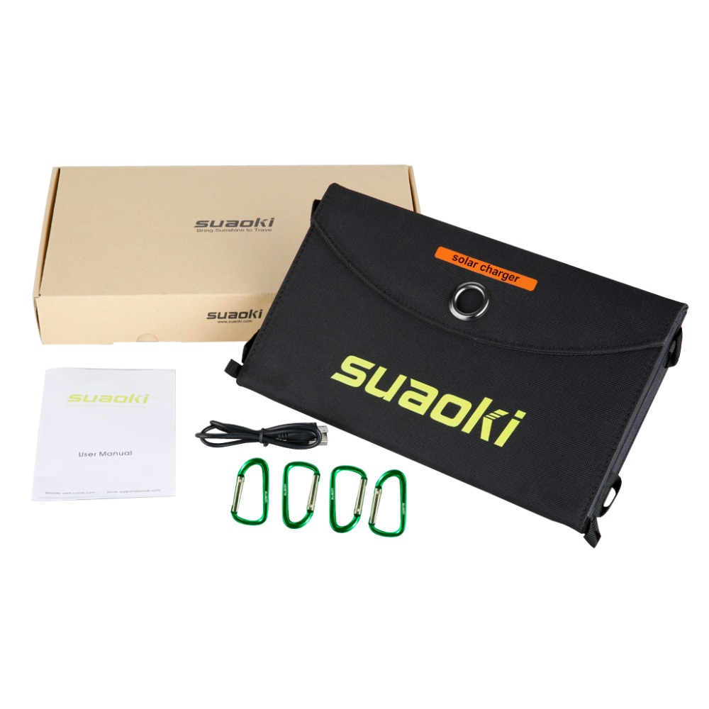 Suaoki 25W paneles solares portátiles plegables impermeables Dual 5 V/2.1A USB Solar Panel cargador banco de energía para la batería del teléfono - 6