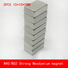 3PCS 15*10*5mm super strong rare earth magnet N45 N52 neodymium magnets 15x10x5mm