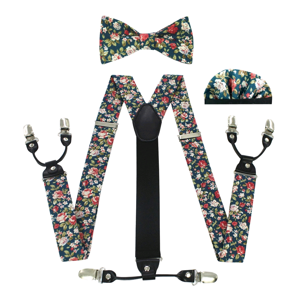 JEMYGINS Fashion Suspenders Bow Tie Pocket Scarf Set Cotton Flower Sling Men And Women Quality Leather Sling