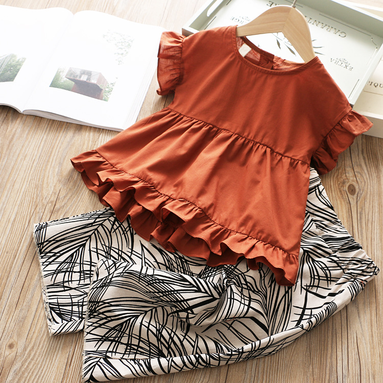 Girl's Sets Wide-legged Pants and T Shirt Children's Clothes Summer 2019