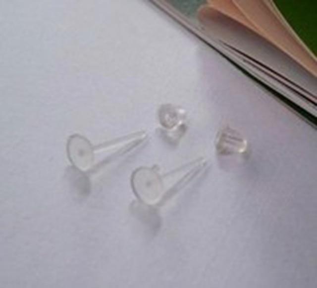 f4e09b933 100X 5mm Plastic Clear Flat BASE Pad Earring Make DIY Posts Studs Findings  Tool