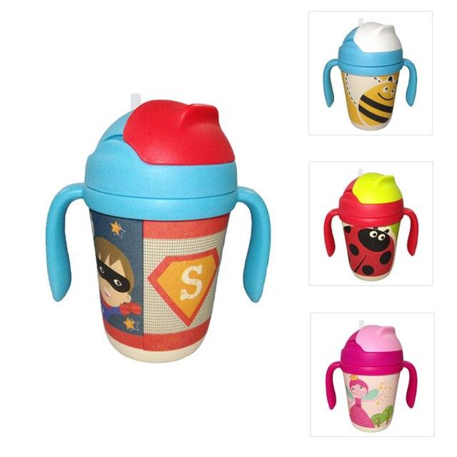 300 мл Ребенка Чашки Дети Бамбуковое волокно соломы чашки BPA БЕСПЛАТНО Portable Бутылка Мультфильм младенческой бутылка питьевой воды обучения кубок