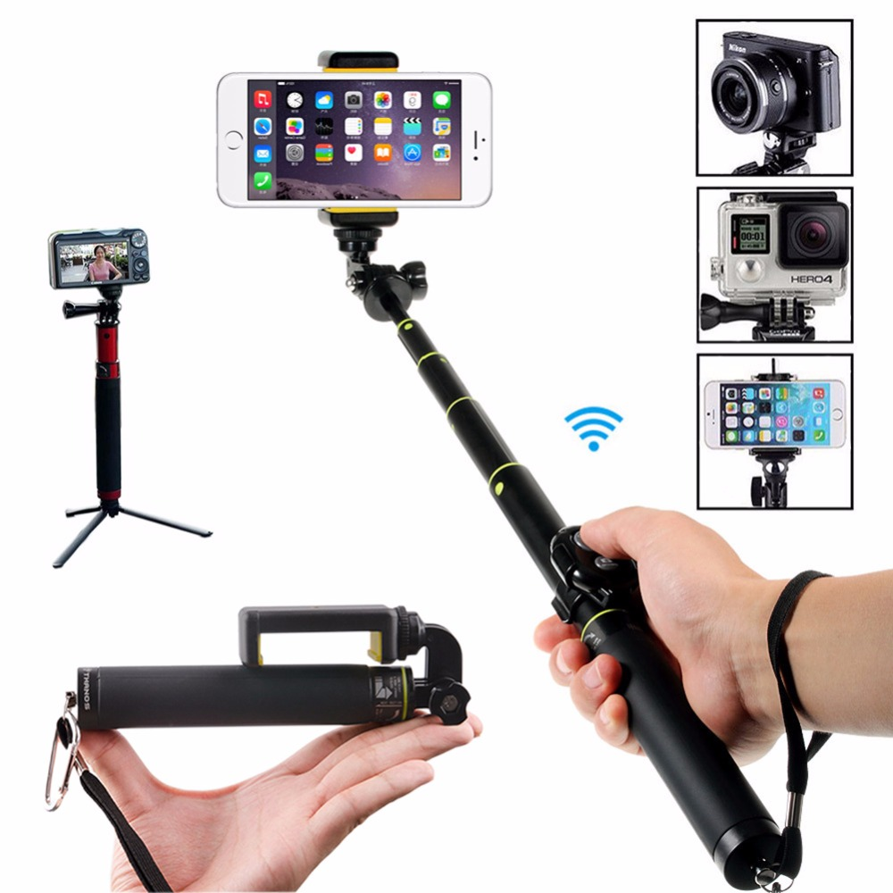 Extendable Bluetooth Selfie Stick Portable Pole Monopod with Mini Tripod Bracket for Gopro/iPhone/Xiaomi Saumsung Smartphones перчатки виниловые черные неопудренные пвх 6 7 4 8 гр 100 шт 3 размера