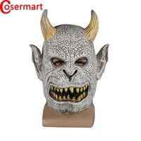 Cosermart Scary Demon Devil Horror Halloween Latex Mask With Horn Cosplay Prop Masquerade Mask Adult