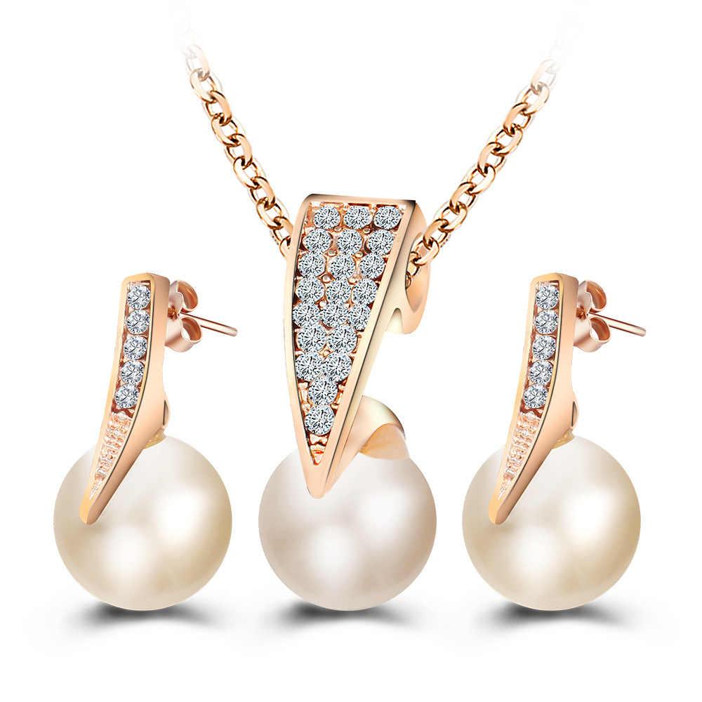 שרשרת זהב צבע חיקוי פרל ריינסטון קריסטל תליון עגילי סט נשים סט תכשיטי קריסטל חתונה כלה choker