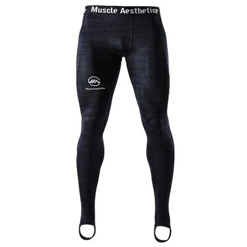 Tayt erkekler sıkıştırma hızlı kuru dar pantolon erkek spor salonları spor egzersiz vücut geliştirme pantolon erkek Joggers Crossfit spor