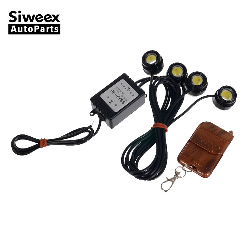 4 In1 Kit Wireless Hawkeye LED Car Emergency Strobe DRL Lights With Remote Control Light Reversing Lamp 12V DC White