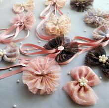 1-2pcs girls tassel hair bows big Korean chiffon Ribbon pearl clips Crown flower printed kids accessories J96