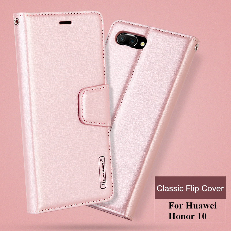 Original Hanman For Huawei Honor 10 Luxury Book Style Retro Sheepskin Leather Wallet Back Cover Case with Stand Holder Card Slot