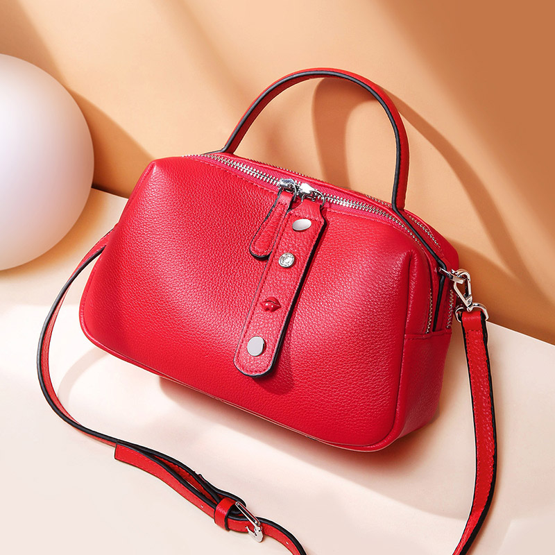 Image 4 - Zency 100% Real Cowhide Leather Fashion Lady Crossbody Bag High Quality Tote Handbag Pillow Shoulder Bags Grey Pink Red Black-in Top-Handle Bags from Luggage & Bags