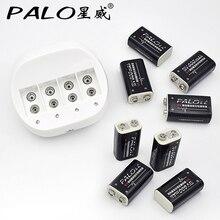 Пало 4 слота 9 В Батарея Зарядное устройство для 9 В 6F22 батареи + 8 шт. 9 В Li-Ion 600 мАч батареи