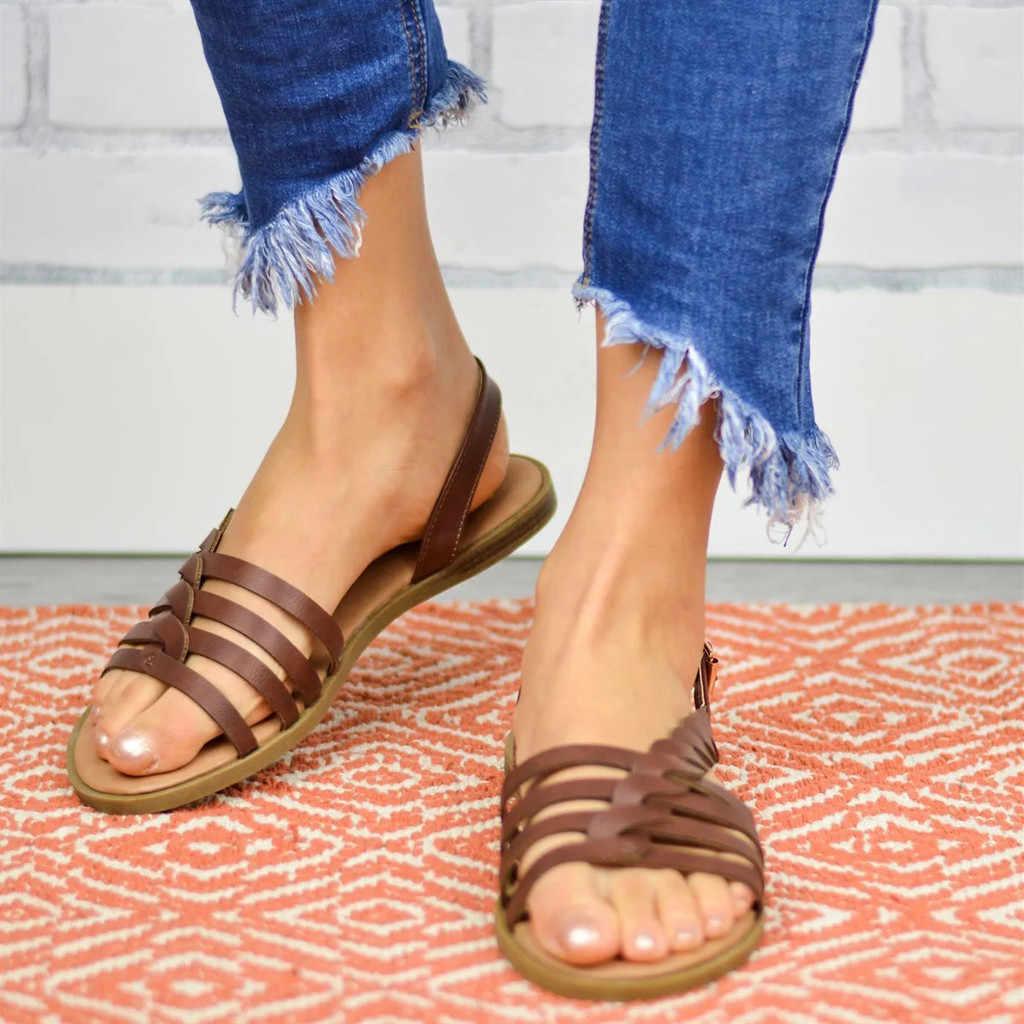 ผู้หญิง Sandles Ladies สายคล้องคอข้อเท้า Buckle Braided Cushioned รองเท้าแตะโรมันหญิงฤดูร้อนนุ่มรองเท้าชายหาดแบนขนาด 35-43 T9 #
