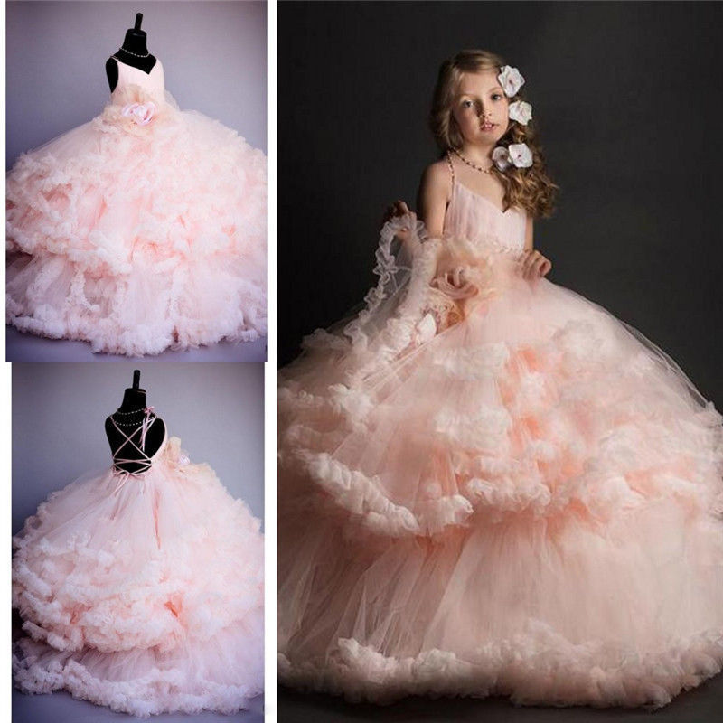 Pink Tulle Princess Bridesmaid Flower Girl Dresses Wedding Party Prom Dress Girls Pageant First Communion Gown Custom Made 2018 purple v neck bow pearls flower lace baby girls dresses for wedding beading sash first communion dress girl prom party gown