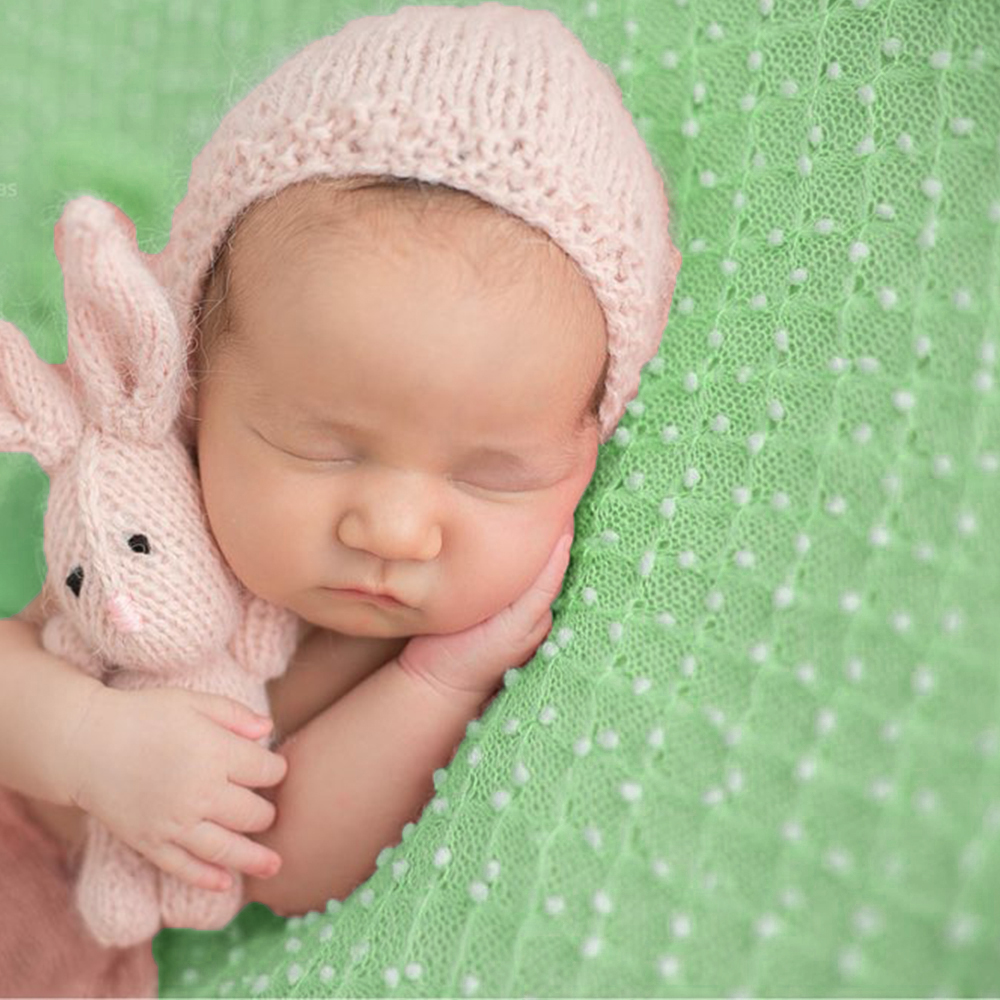 ea9db4181e74e D&J Knit Mini Ball Fabric Blankets Soft Newborn Wrap Spring Green Newborn  Photography Props For Newborn