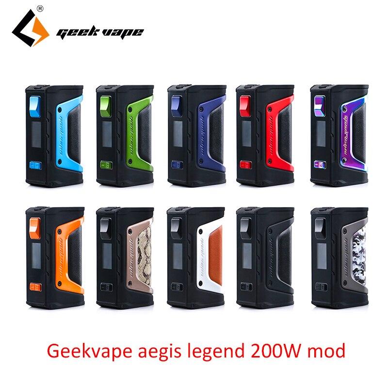 Vape mod GeekVape Aegis mod aegis Legend 200 W TC Box MOD alimenté par deux batteries 18650 e cigs pas de batterie pour zeus rta blitzen