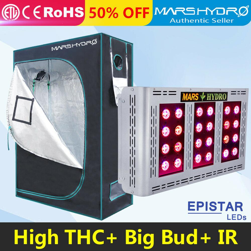 Mars Hydro Pro II Led 600 Full Spectrum Grow Light And 120x60x180cm Indoor Hydroponics System Grow Tent For Garden  Planting