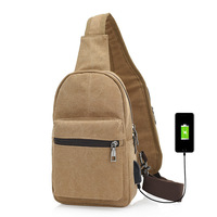 QOKR Men Usb Charging Chest Bag Male Canvas Casual Travel Crossbody Bust Bags Anti Theft Functional