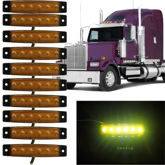 Dropship Hot Selling  10x 6 LED Truck Lorries Bus Clearance Side Marker Indicators Light Lamp Amber Gift May 22