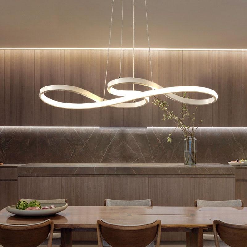 Lampe de pendentif LED moderne noir/blanc nordique suspension Note créative suspension pour barre Table cuisine île salle à manger - 4