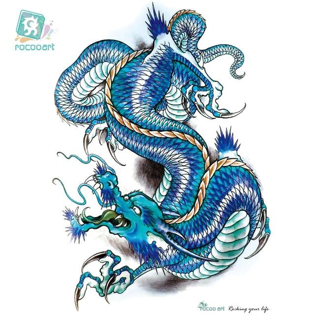 Rocooart Lc2817 2115cm 3d Large Big Tatoo Sticker Sketch Blue