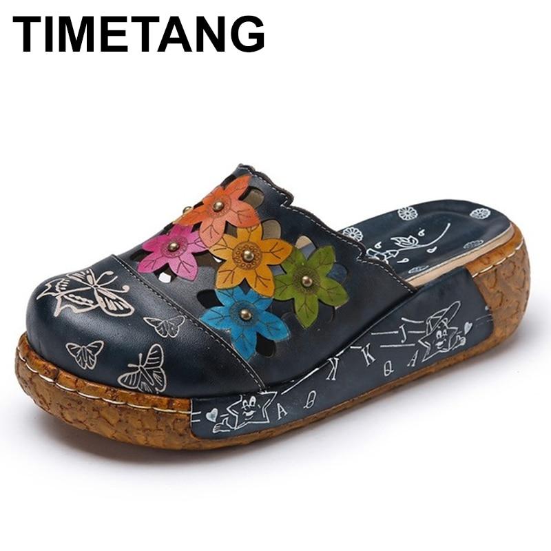 TIMETANG Genuine Leather Shoes Flower Slippers Handmade Slides Flip Flop On The Platform Clogs For Women