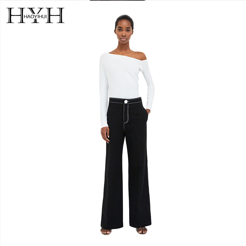 HYH HAOYIHUI Woman Simplicity And Elegant Off Shoulder Strapless Knit Tops Autumn 2018 For Office Lady Casual New Arrival