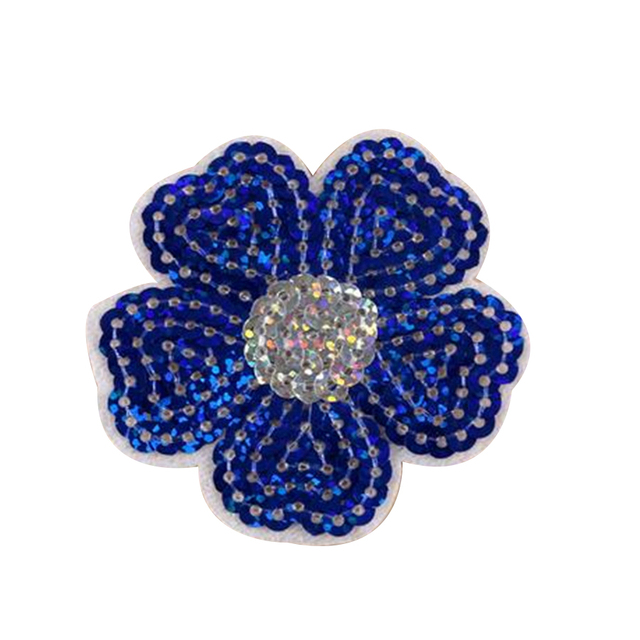 Clothing Women Shirt Top Diy Cute Patch Flower Blue Sequins deal with it T-shirt girls Iron on Patches for clothes 3D Stickers