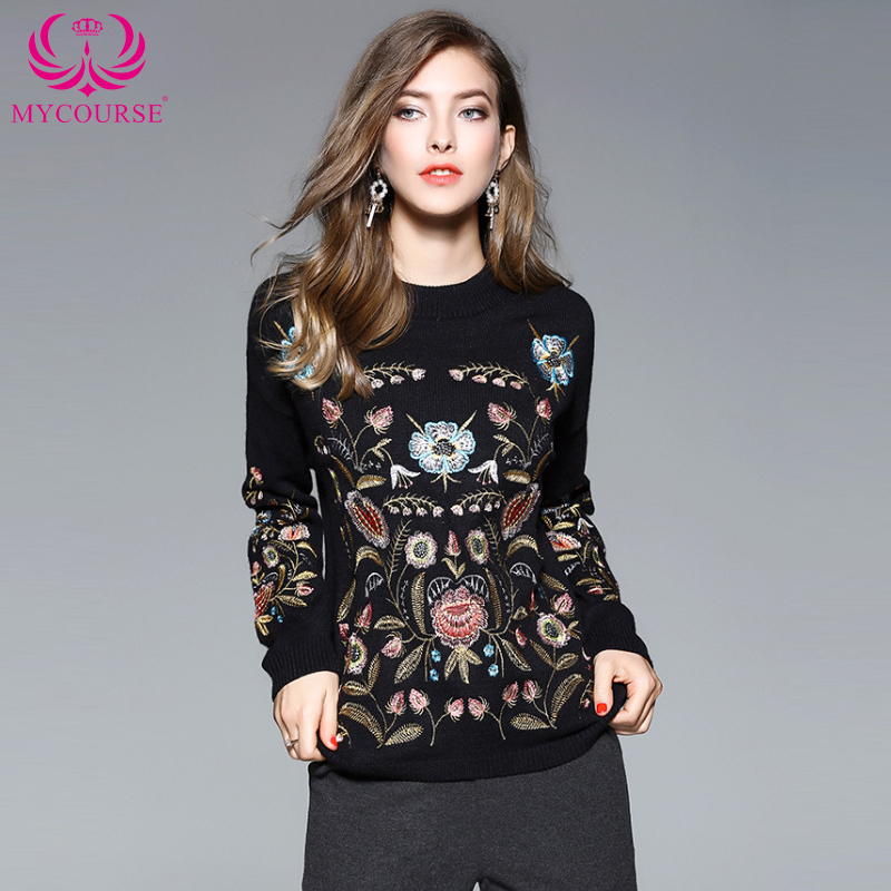 2017 Women Autumn Vintage Casual Boho Pullovers Ladies Sweaters Botanical Embroidered Jumper Black Long Sleeve Slim