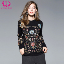 1da8eb8001 2017 Women Autumn Vintage Casual Boho Pullovers Ladies Sweaters Botanical  Embroidered Jumper Black Long Sleeve Slim
