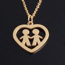 Friendship Bijoux Peach Two Boys Best Friend Necklace Pendant Famliys Sisters Pendant Choker Collier for  Wedding Gfit