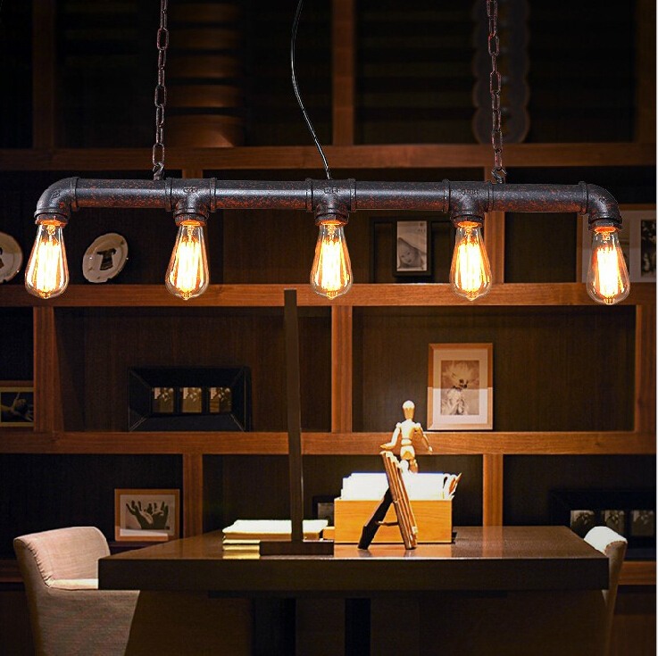 Vintage industrial iron Conduit loft pendant lamps American  metal pipe restaurant cafe bars pendant lights E27*5 edison bulbs free shipping american loft vintage lamps personality balcony wrought iron pendant lights vintage edison pendant lamps