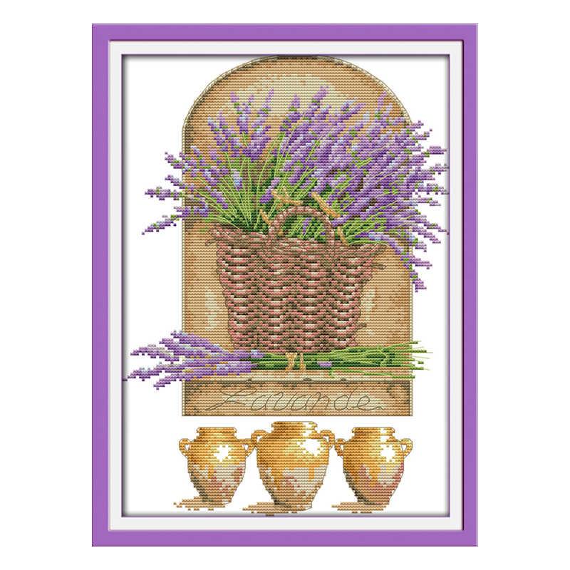 Joie dimanche point de croix lavande dans le panier vase DMC14CT11CT coton tissu salon boutique hôtel maison peinture usine en gros