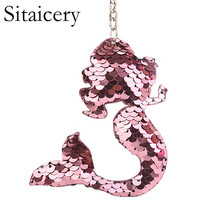 Sitaicery Chaveiro Mermaid Keychains Charms Keys Pendants Sequins Keyring Gift  Jewelry Accessories Trinket For Women