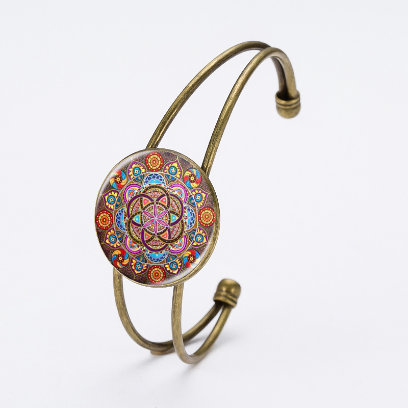 Black Friday Cuff Bracelets For Women Jewelry From India Mandala Flower Henna Glass Cabochon Charm Bracelets Jewelry Gifts 2016