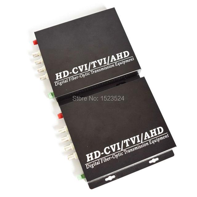 Fibra óptica convertidor de vídeo de 1080 P HD CVI TVI AHD, 4 Canales de Vídeo Conveter con Datos RS485 Inversa Óptico Monomodo 20 KM
