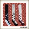 Princesa meias Lolita doce Dot algodão rendas cruz fita sobre o joelho alta cosplay over the knee meias coxa
