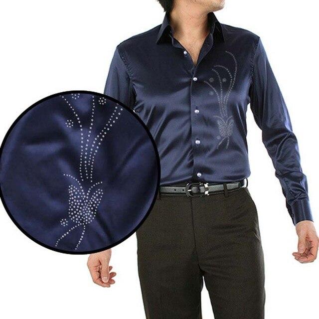 ANPOETCHY Brand Men Imitation Silk Shirt Floral Embroidery Hot Fix Stone  Beading Long Sleeve Dress Shirt
